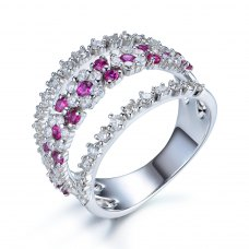 Romany Ruby Diamond Ring 18K White Gold