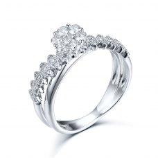 Solitario Diamond Ring 18K White Gold