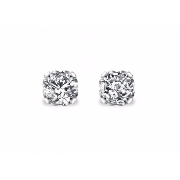Oria Solitaire Earring 18K White Gold