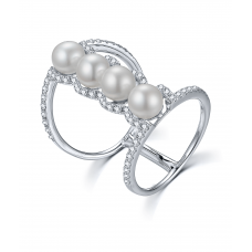 Magellan Pearl Diamond Ring 18K White Gold
