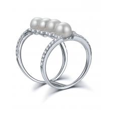 Magellan Pearl Diamond Ring 18K White Gold