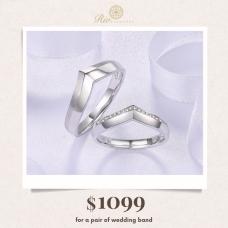 Dawn Diamond Wedding Ring 18K White Gold(Pair)