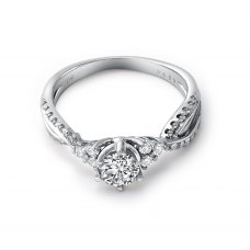 Therese Standard Fit Solitaire Engagement Ring Casing 18K White Gold