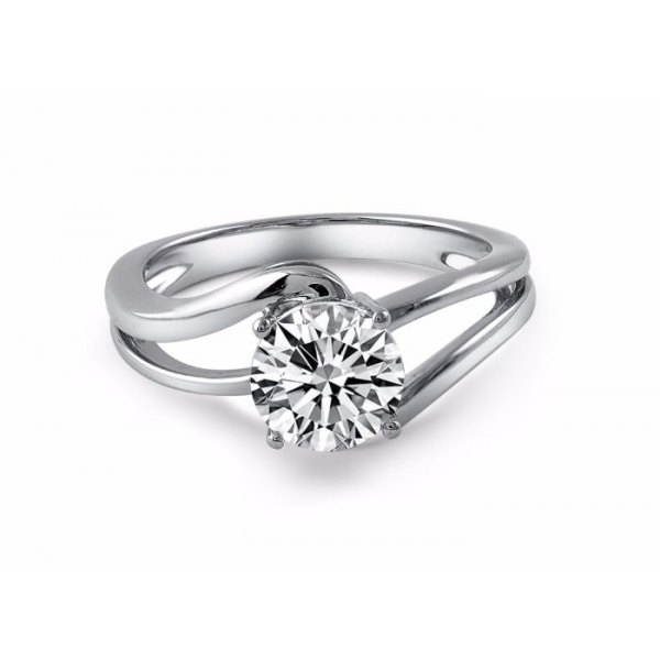 Vail Solitaire Engagement Ring Casing 18K White Gold