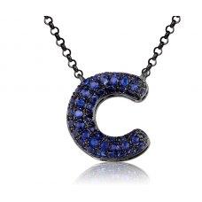 C-Style Pave Sapphire Necklace 18K Black Gold