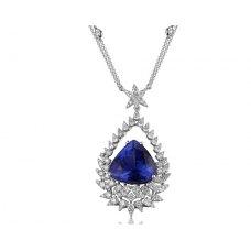 Tinollen Tanzanite Diamond Necklace 18K White Gold