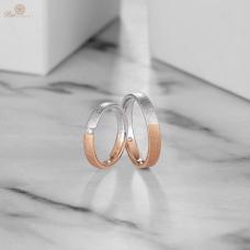 Cinon Diamond Wedding Ring 18K White and Rose Gold (Pair)