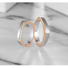 Soveen Diamond Wedding Ring 18K White and Rose Gold(Pair)