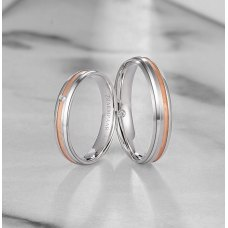 Puloy Diamond Wedding Ring 18K White and Rose Gold(Pair)