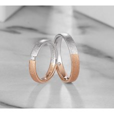 Cinon Diamond Wedding Ring 18K White and Rose Gold(Pair)