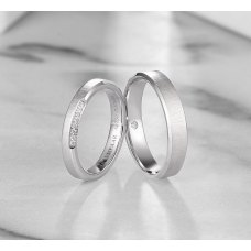 Follen Diamond Wedding Ring 18K White Gold(Pair)