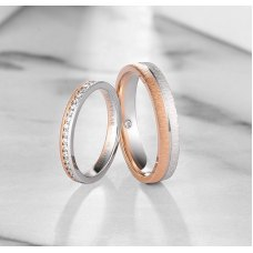 Deloy Diamond Wedding Ring 18K White and Rose Gold(Pair)