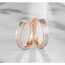 Berevel Diamond Wedding Ring 18K White and Rose Gold(Pair)