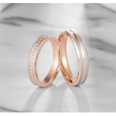 Hume Diamond Wedding Ring 18K White and Rose Gold(Pair)