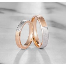 Ambez Diamond Wedding Ring 18K White & Rose Gold(Pair)