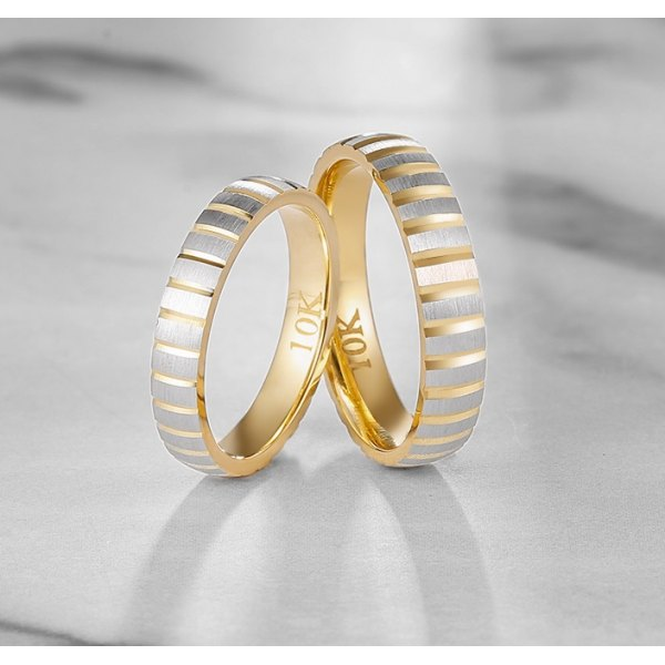 Bianca Diamond Wedding Ring 18K White & Yellow Gold(Pair)