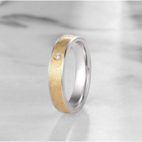 Clonis Diamond Wedding Ring 18K White & Yellow Gold