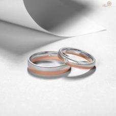 Lenbon Diamond Wedding Ring 18K White and Rose Gold (Pair)