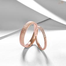Sleon Diamond Wedding Ring 18K Rose Gold (Pair)