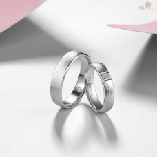 Fanon Diamond Wedding Ring 18K White Gold (Pair)