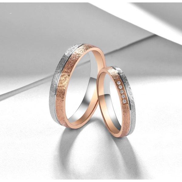 Venny Diamond Wedding Ring 18K White and Rose Gold(Pair)