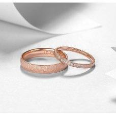 Sleon Diamond Wedding Ring 18K Rose Gold(Pair)