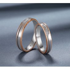 Dueloy Diamond Wedding Ring 18K White and Rose Gold(Pair)