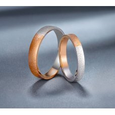 Gusen Diamond Wedding Ring 18K White and Rose Gold(Pair)