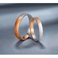Gusen Diamond Wedding Ring 18K White and Rose Gold(Pair)