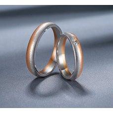 Lenbon Diamond Wedding Ring 18K White and Rose Gold(Pair)