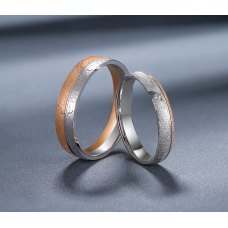 Grilim Diamond Wedding Ring 18K White and Rose Gold(Pair)