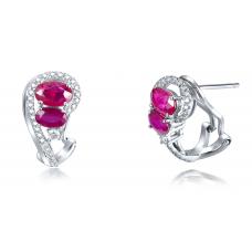Swavy Ruby Diamond Earring 18K White Gold