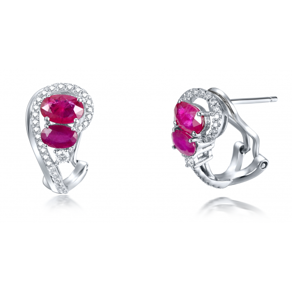 Swavy Ruby Diamond Earring 18K White Gold