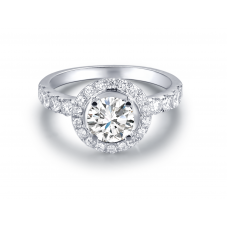 Lems Diamond Engagement Ring Casing 18K White Gold