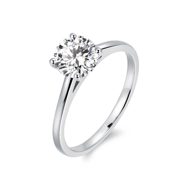 Lucie Solitaire Engagement Ring Casing 18K White Gold