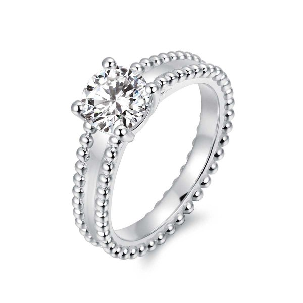 Delaine Solitaire Engagement Ring Casing 18K White Gold