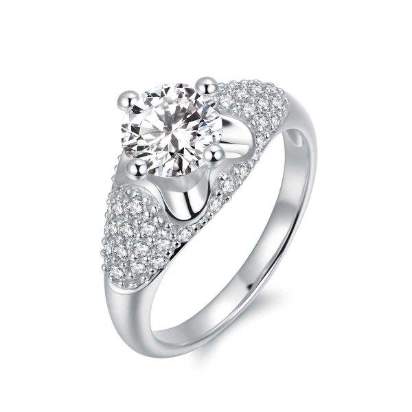 Millia Diamond Engagement Ring Casing 18K White Gold