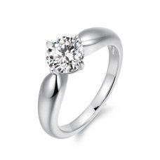 Ashlie Solitaire Engagement Ring Casing 18K White Gold