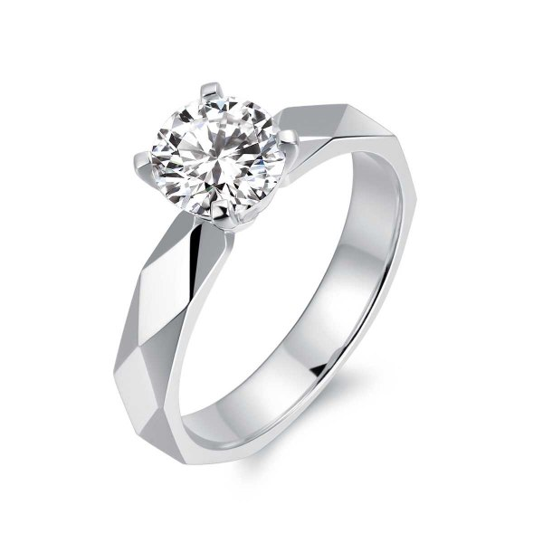 Rhonda Solitaire Engagement Ring Casing 18K White Gold