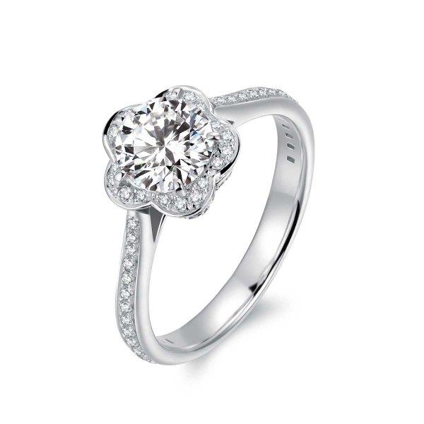 Arlyne Diamond Engagement Ring Casing 18K White Gold