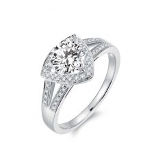 Trixie Diamond Engagement Ring Casing 18K White Gold