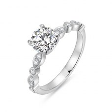 Zekhia Diamond Engagement Ring Casing 18K White Gold