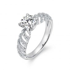 Odette Diamond Engagement Ring Casing 18K White Gold