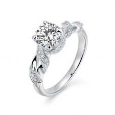 Lykias Diamond Engagement Ring Casing 18K White Gold