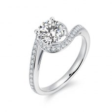 Keiane Diamond Engagement Ring Casing 18K White Gold