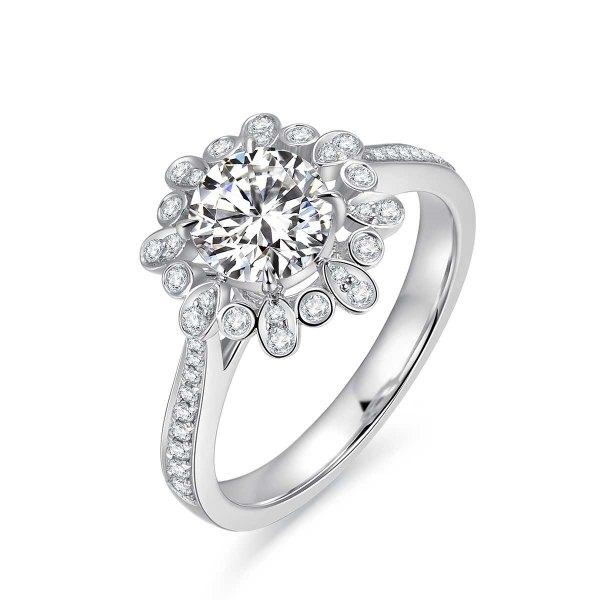 Lucine Diamond Engagement Ring Casing 18K White Gold