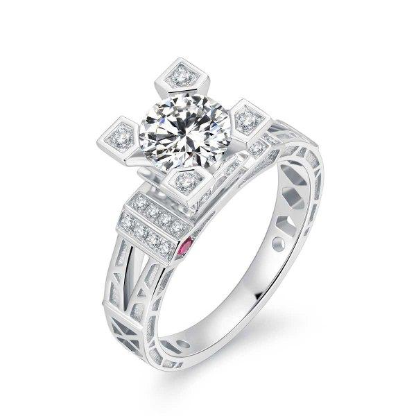 Laciane Diamond Engagement Ring Casing 18K White Gold