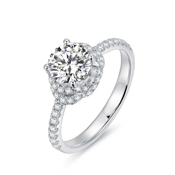 Estrel Diamond Engagement Ring Casing 18K White Gold