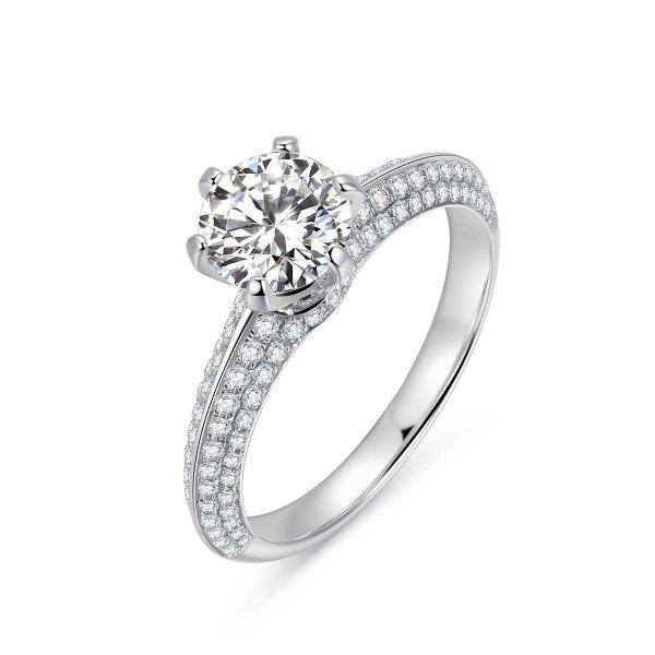 Emia Diamond Engagement Ring Casing 18K White Gold