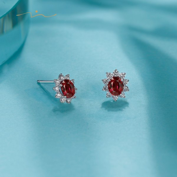Borien Ruby Diamond Earring 18K White Gold